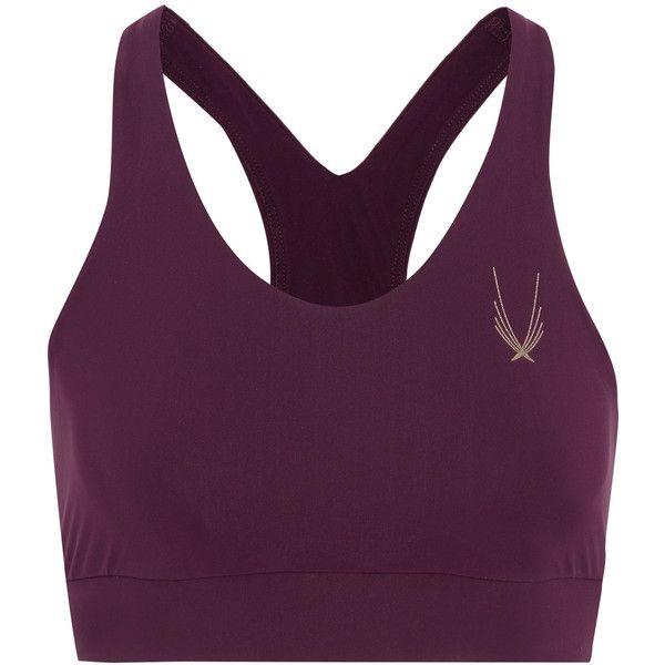 Lucas Hugh Blackstar stretch sports bra (€110) ❤ liked on Polyvore featuring activewear, sports bras, bra, plum, racerback sports bra, lucas hugh, racer back sports bra and purple sports bra