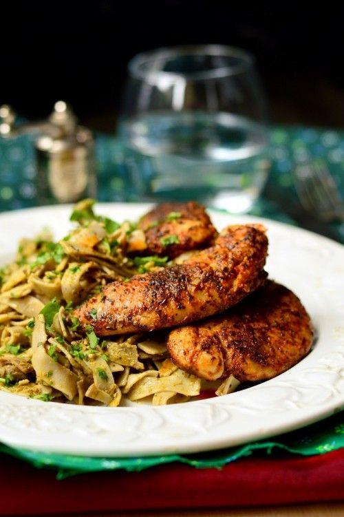 Fűszeres csirke pesztós tésztával