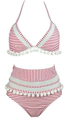 0778dd4165046 COCOSHIP Flamingo Pink & White Stripe Mesh High Waist Bikini Set Pompom  Tassel Trim Top Halter Straps Swimsuit Cruise Swimwear 12