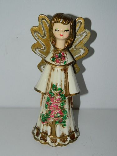 Angel plaster of paris paper mache tree topper pink gold figurine