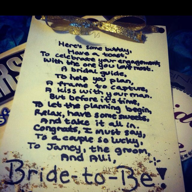 Wedding Gift Poem Living In Sin : gift for a friend. Included: 2 mini bottles of champagne, a bridal ...