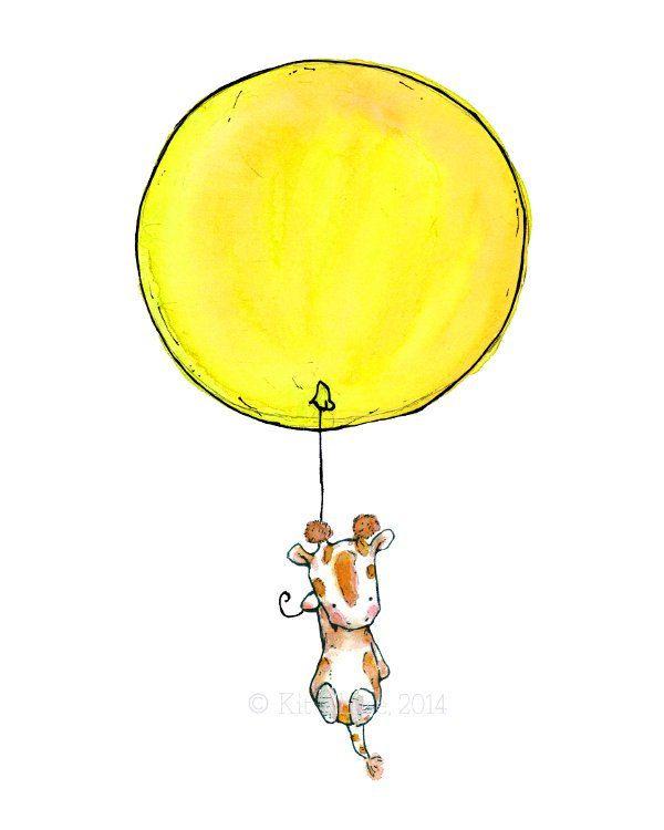 Children's Art Giraffe Balloon Art Print by trafalgarssquare