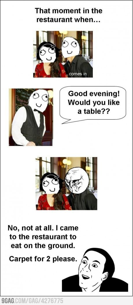 That AWKWARD moment in a restaurant!