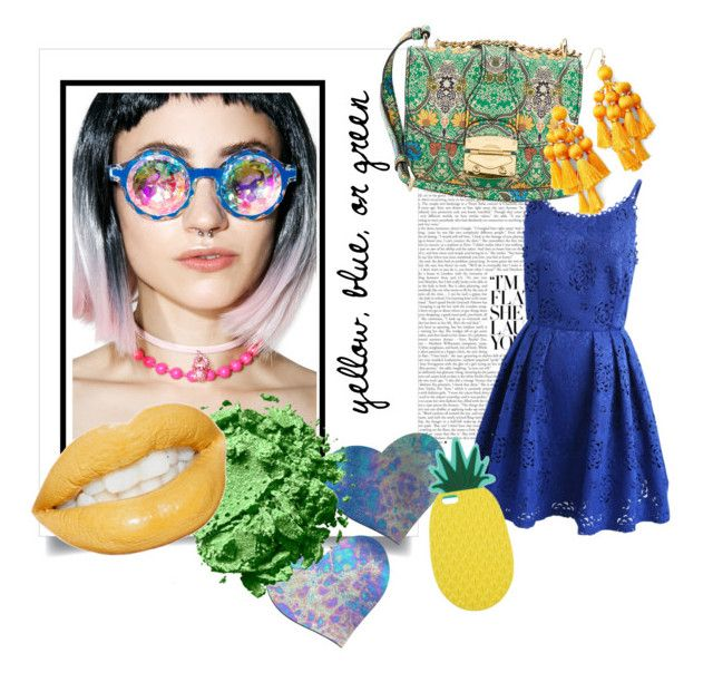 """Yellow, Blue, or Green"" by egaemgyu on Polyvore featuring Chicwish, Miu Miu, GloFx, Pastease, Kate Spade, Miss Selfridge and yellowblueorgreen"