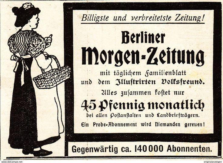 Werbung - Original-Werbung/ Anzeige 1901 - BERLINER MORGEN - ZEITUNG - ca. 90 x 60 mm