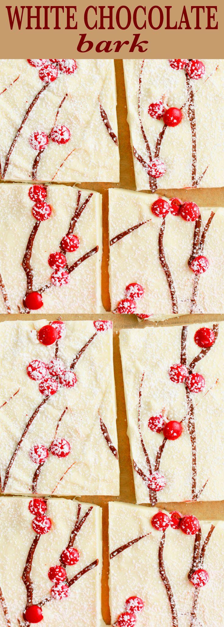 Homemade candy | christmas bark | holiday bark | homemade gift | easy candy | white chocolate bark | christmas treats | holiday recipes | christmas recipes