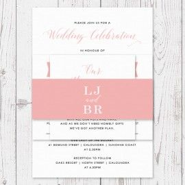 C Pink And White Mdoern Script Font Personalised Wedding Belly Band Australia