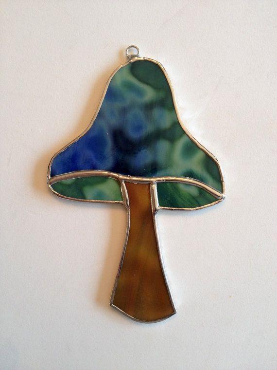 Stained Glass Mushroom Suncatcher by QTSG on Etsy