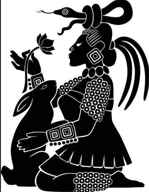 Ixchel, diosa maya de la luna, esposa del dios solar. En ocasiones se le representaba acompañada de un conejo. También representó la fertilidad estrechamente ligada con la tierra, ya que son los ciclos de la luna los que rigen los tiempos de siembra y cosecha.