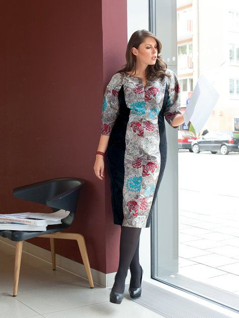 Paneled dress - could be great with a different neckline. Burda Panel Dress (Plus Size) 01/2014
