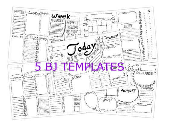 5 journal printable starter kit daily planner di LaSoffittaDiSte