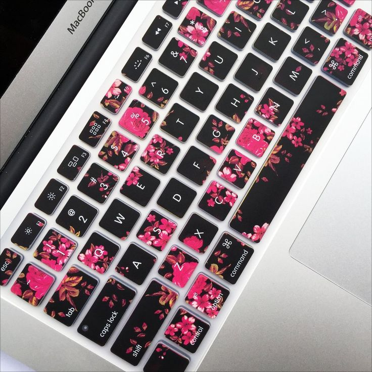 "Protect your Macbook keyboard from dust, spills and key wear with the flexible Dark Floral Cover. Keys are individually molded and keywords are printed on the cover. Fits: - Macbook Pro 13"", 15"", 17"""