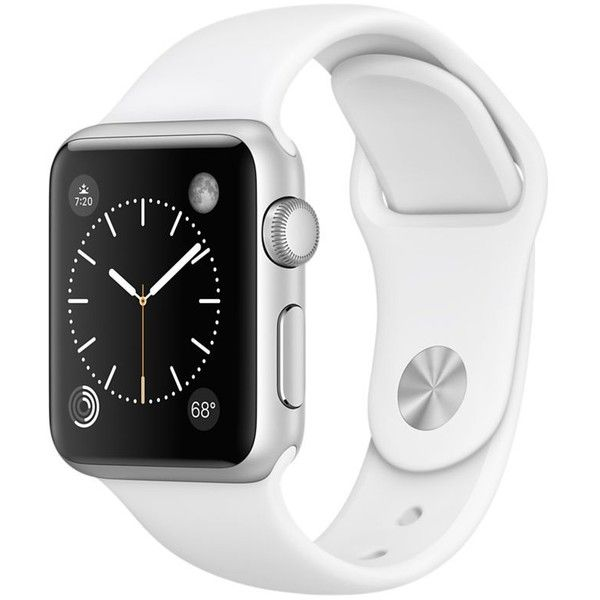 Apple Watch Sport 38mm Silver Aluminum Case with White Sport Band (290 CHF) ❤ liked on Polyvore featuring jewelry, watches, silver jewellery, silver jewelry, white jewelry, sport watches and silver wrist watch