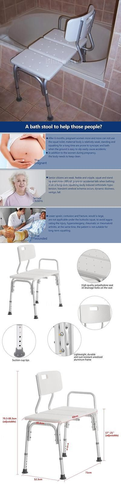Transfer Boards and Benches: Shower Seat Medical Adjustable Bathroom Bath Tub Transfer Bench Stool Chair M2h2 -> BUY IT NOW ONLY: $48.82 on eBay!