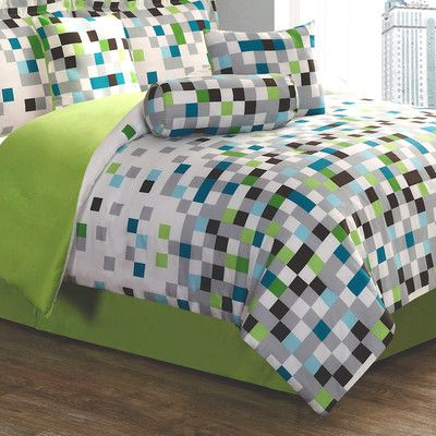 This pixel comforter would be great for #Minecraft bedroom - - or a teen boy with gray walls for a pop of color | 1st Apartment Pixel Comforter Set | Wayfair