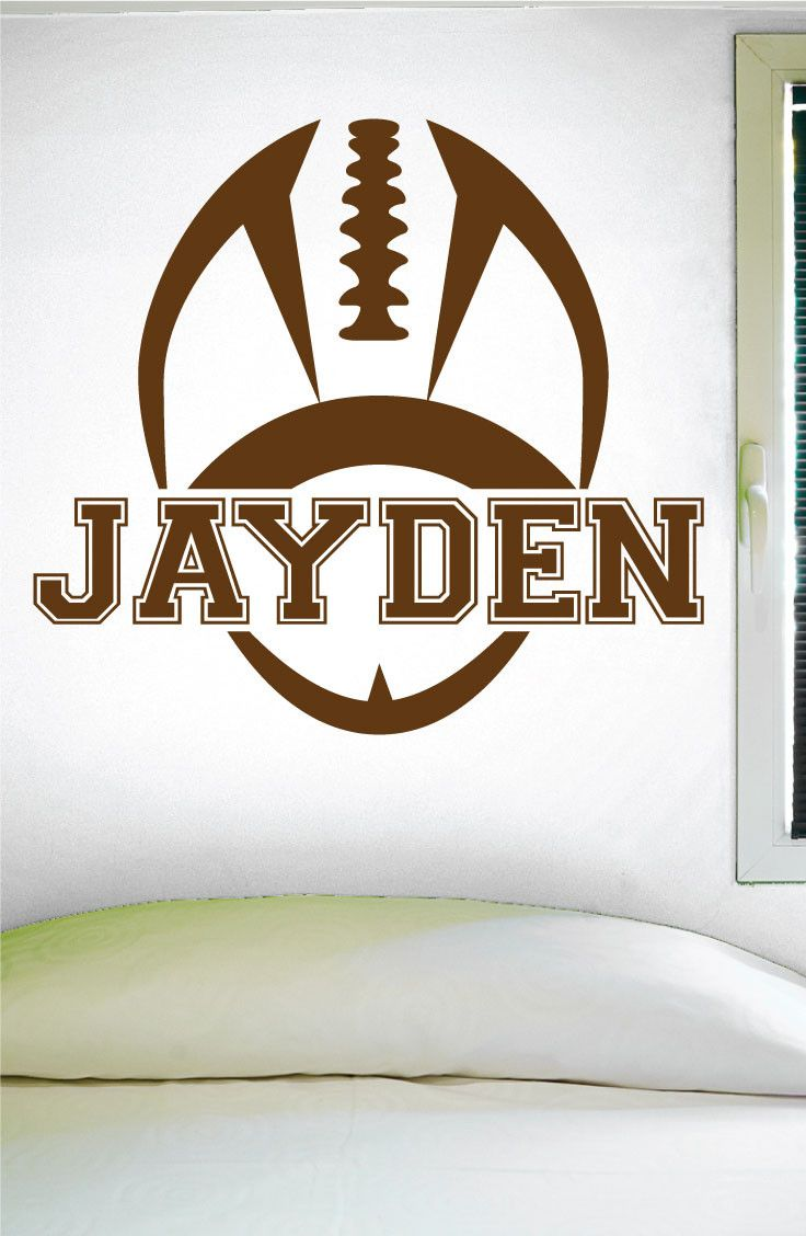"""Custom Football Name Wall Decal - 0119 -- PRODUCT NO. 0119 -- -- When checking out, please type the name you want for your decal in the """"Phone optional"""" tab when you fill out your contact information."""