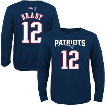 Youth New England Patriots Tom Brady Navy Blue Primary Gear Name & Number Long Sleeve T-Shirt