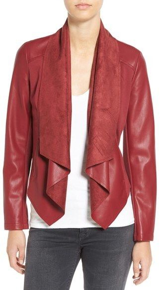 KUT from the Kloth 'Ana' Faux Leather Drape Front Jacket (Regular & Petite)