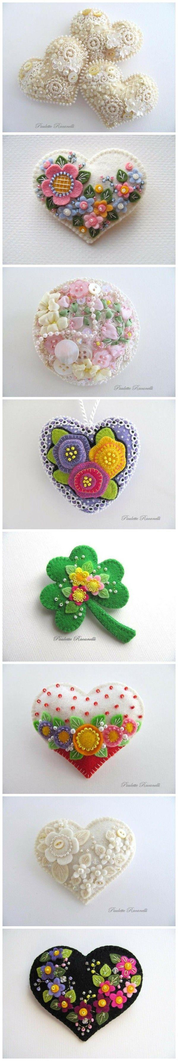 Corazones de fieltro decorados -  Felt decorated hearts