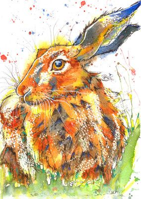 """AN ORIGINAL WATERCOLOUR PAINTING by JOSIE P Title: """"HARE I Am.."""