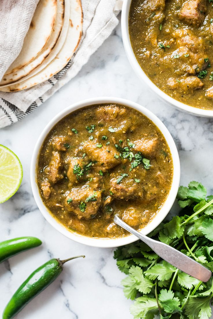 This Mexican Pork Chile Verde is made of tender pieces of pork simmered in a flavorful tomatillo and chile broth. Serve in a bowl or with a side of rice for an authentic Mexican meal! (low carb, gluten free, paleo)