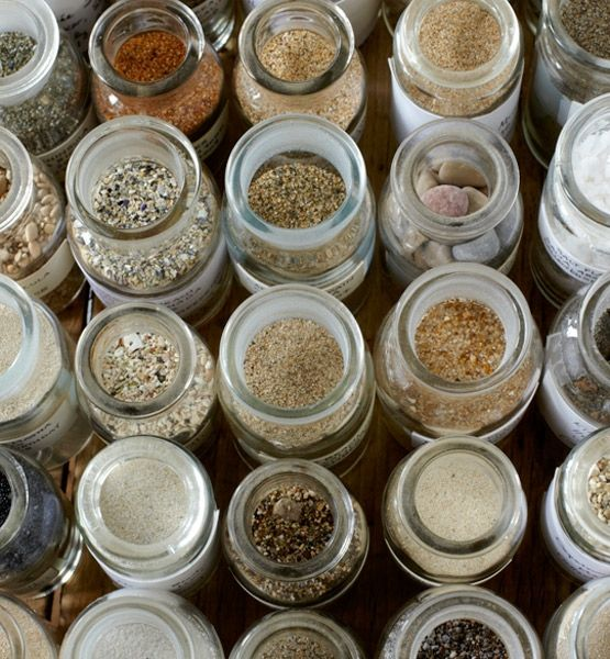 10 everyday objects turned into art..Beach Beauties    A grouping of small glass jars filled with sand collected on different vacations becomes a testament to a well-traveled life...MSN-GLO