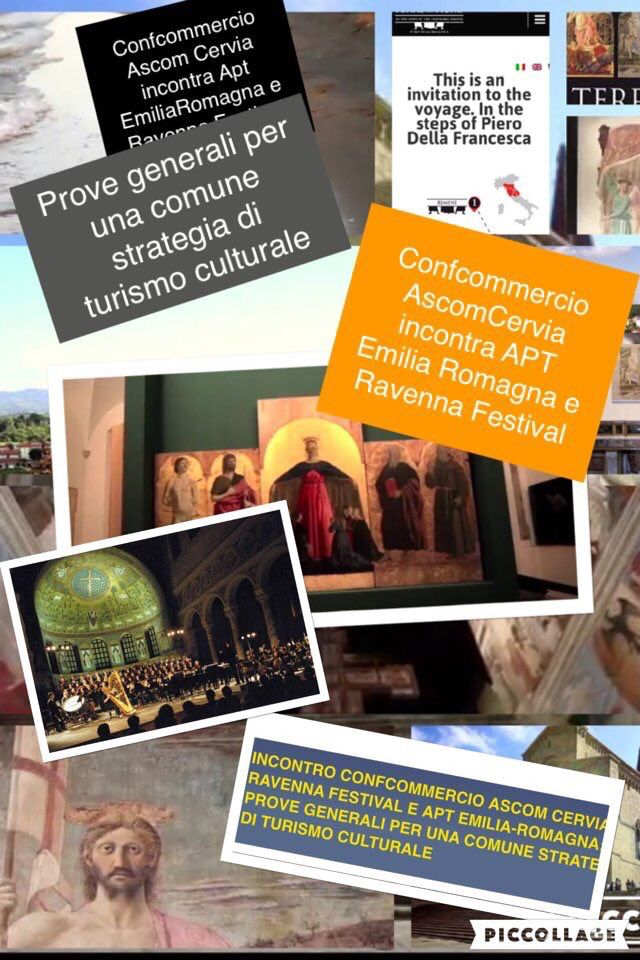 """4Maggio ore 17,00  in Sala Convegni di Confcommercio Cervia: """"Prove generali per una comune strategia di turismo culturale"""". Intervengono #AptEmilia Romagna e @RavennaFestival. Contributi di #FIVAConfcommercio Cervia,  Cooperativa Bagnini Cervia, RoseoEuroTerme Bagno di Romagna. http://www.ascomcervia.it      https://twitter.com/ascomcervia/status/727416801433378816."""