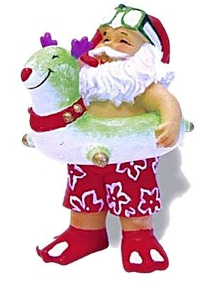 HAWAIIAN BEACH BOUND SANTA SWIMMING POOL TOYS TROPICAL CHRISTMAS ORNAMENT | eBay
