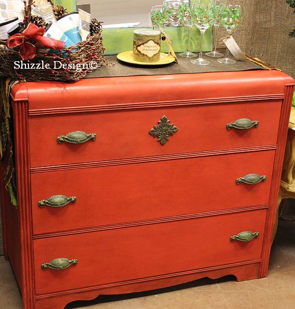 Looking for a spash of red?  This antique waterfall dresser has just been completely refinished and is ready to make it's way to your home!  Painted in chalk & clay paints byShizzle Design in West Michigan.  For details, click: http://shizzle-design.com/2012/12/how-to-transform-look-of-antique.html
