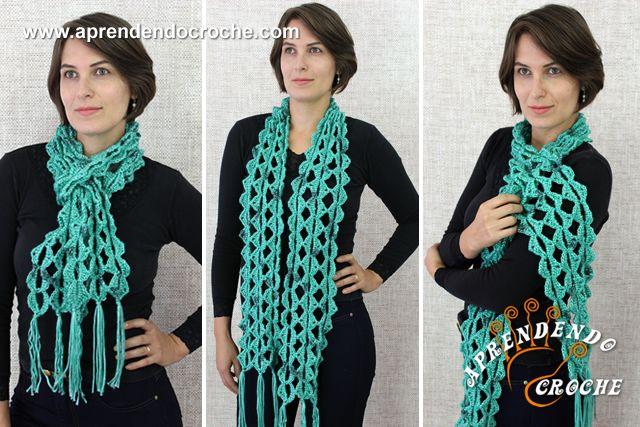 Cachecol de Crochê Jade - Acessórios em Crochê