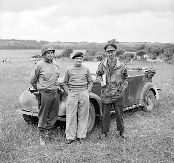 The first meeting on French soil between Bernard Montgomery and generals Omar Bradley and Miles Dempsey, Normandy, France, 10 Jun 1944.