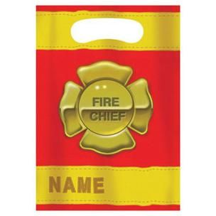 1094 - Firefighter Loot Bags. Pack of 8 Firefighter Loot Bag (16cm x 22cm) Pack of 8