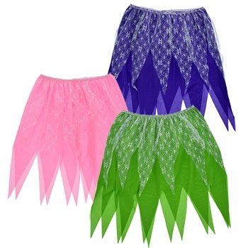 Kids will love to twirl and whirl around in these fairy skirts! Polyester skirts measure 17-in. long and are perfect for dress-up stations in day cares and preschools, Halloween costumes, costume shop