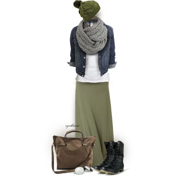 """Maxi Skirt for Fall"" by cynthia335 on Polyvore I Luv how the boots add this ""edge"" to it..."