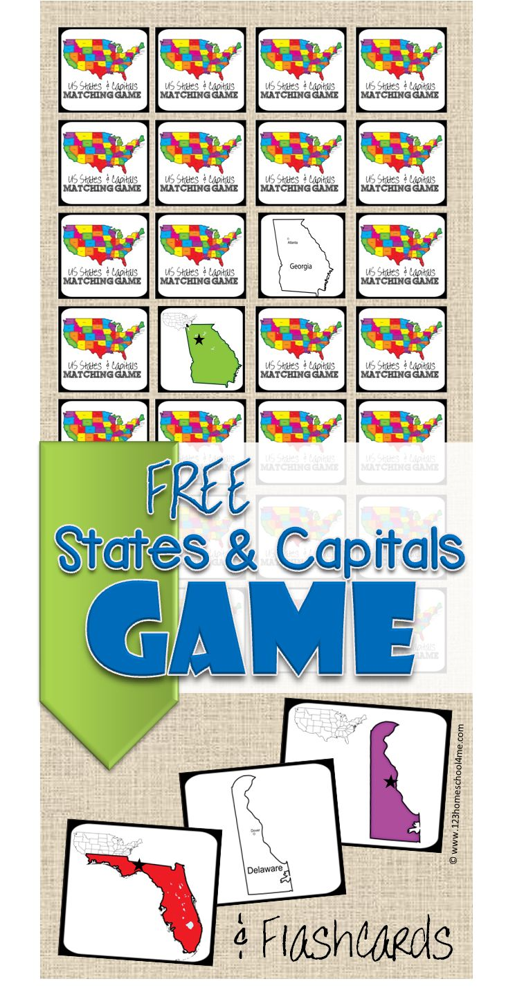 Free States Capitals Game and US State and state capitals flashcards from 123 Homeschool 4 Me