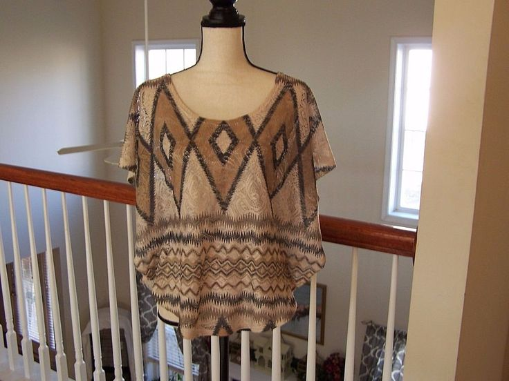 Body Central Women's Knit Top Multi Color Diamond Pattern Short Sleeve NWOT #BodyCentral #KnitTop #Casual