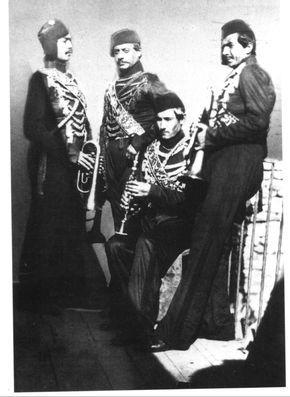 Turkish military musicians, Crimean War (1853-1856).