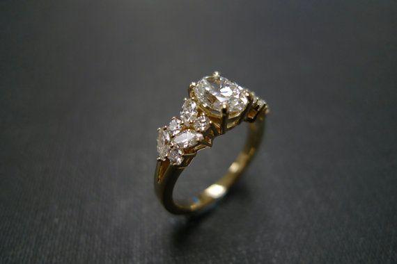 Oval diamante anillo de compromiso anillo de compromiso de la