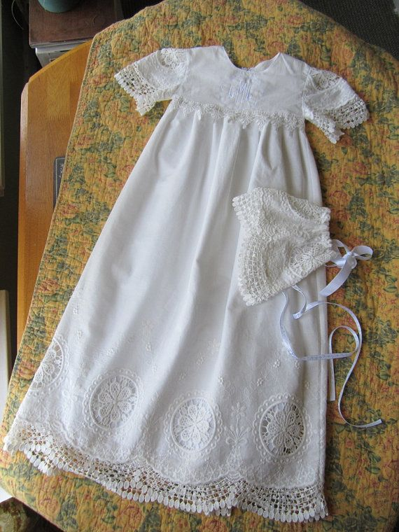 Baby Baptism Dress Long-Soft milk white Linen and Lace  and bonnet  Christening Gown-Naming Ceromony-Monogrammed french embroidery