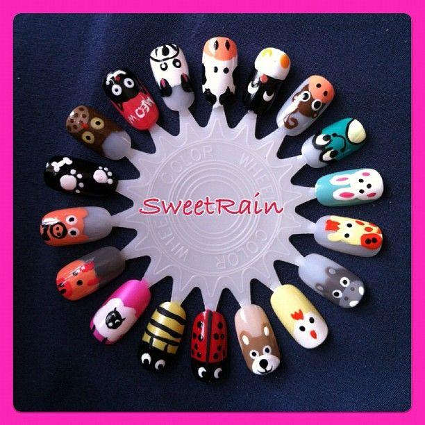 cute animal nail art design wheel by SweetRain - Instagram