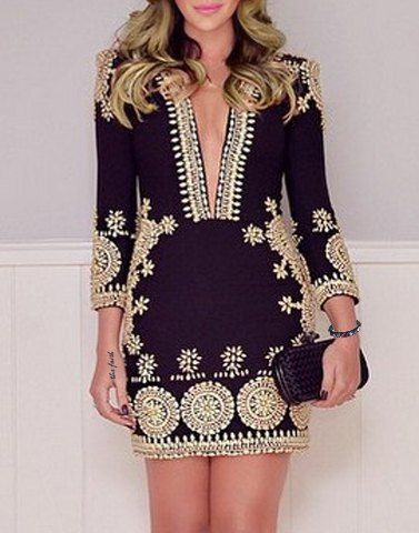 Stylish Plunging Neck 3/4 Sleeve Printed Bodycon Dress For Women