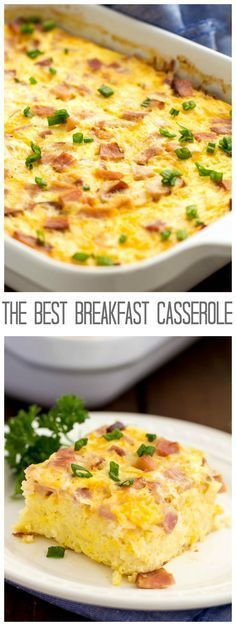 This Breakfast Casserole is the BEST! Hearty and packed with hash browns, eggs, cheese and ham!
