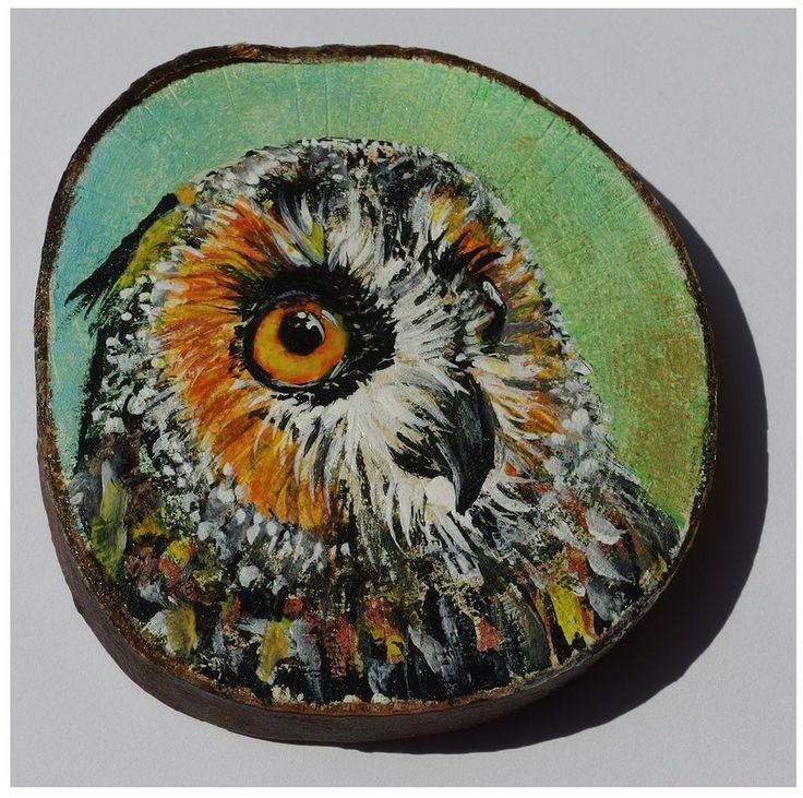 The owl by Agnieszka Sokołowska - hand painted on wood. #xantosia #sowa #owl #ptak #bird #handmade #handpainted #reczniemalowane #drewno #wood #magnes #fridge_magnet #art #nature
