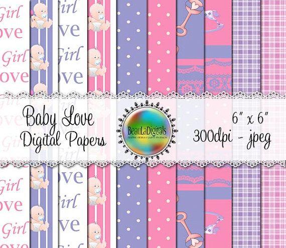 Baby Love Digital Papers  Pattern paper Pinks by Beauladigitals