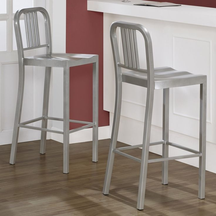 Silver Metal Bar Stools Set Of 2 For The Home Metal