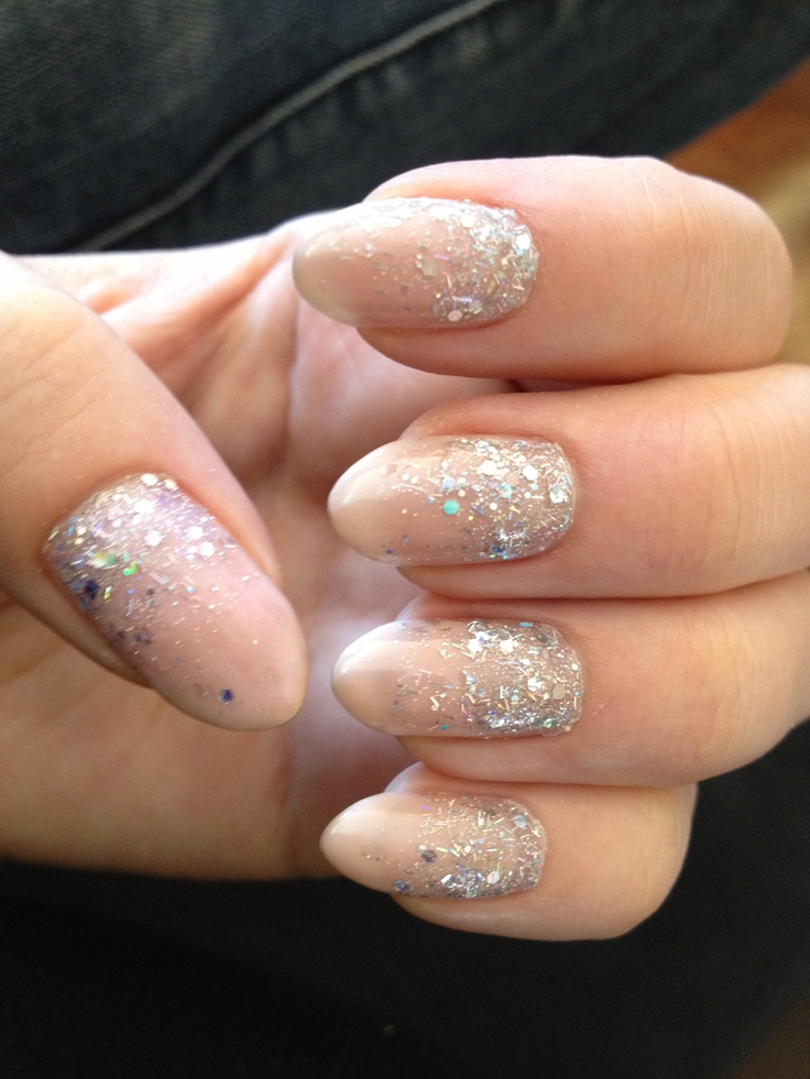 Shellac stiletto nails with ombré sparkles | Nice nails ...