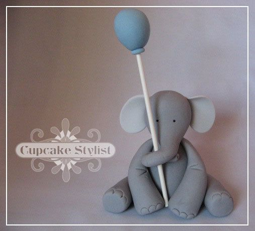 2-inch Edible Fondant Elephant and Balloon Cake and Cupcake Topper by Cupcake Stylist via Etsy