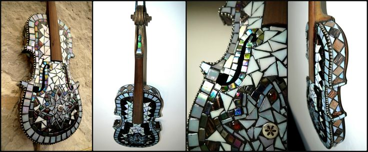 Decoration violin covered with beautiful nacreous, iridescent glass mosaics. Colours are changing depending on the current lights. Only decoration, can't play on it!
