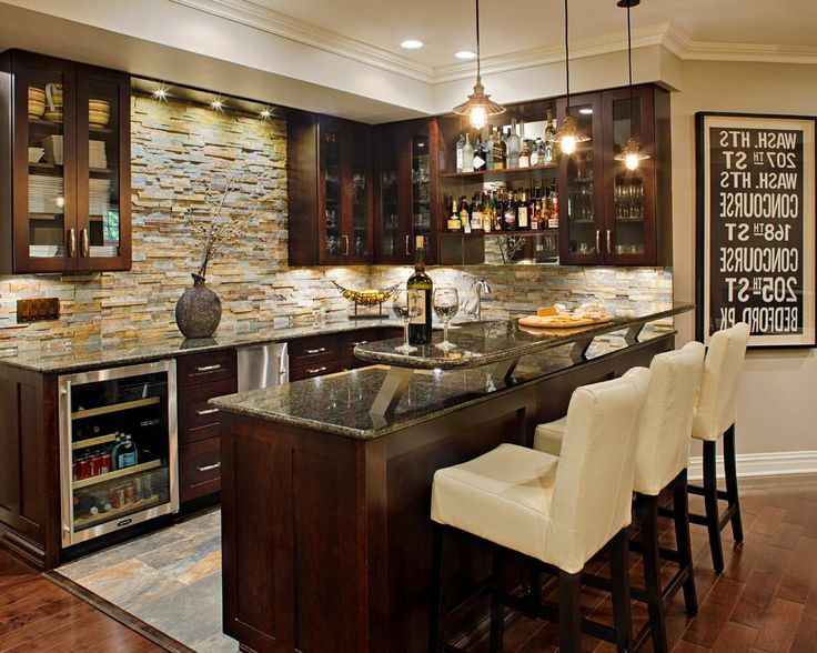 Lovely Diy Basement Bar Ideas Home Bar Traditional With Undercabinet Lighting  Undercabinet Lighting Stone Backsplash | Basement | Pinterest | Basements,  ...