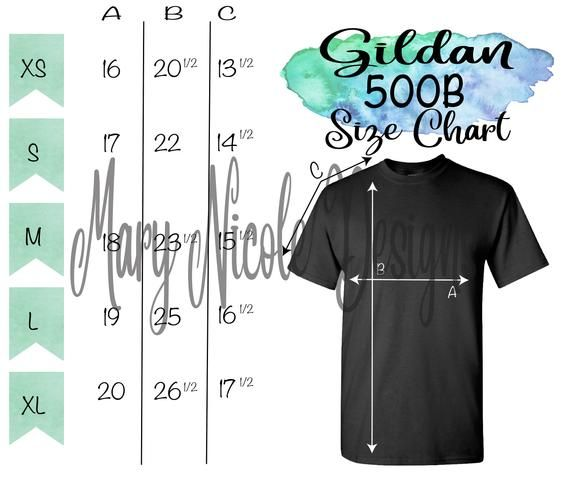 Gildan G500b Size Chart T Shirt Mockup Flat Lay Etsy Shirt